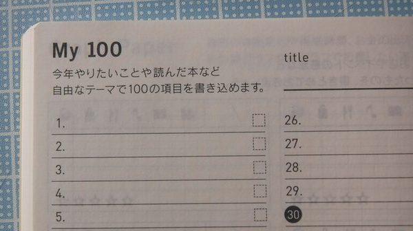 ほぼ日手帳オリジナル2017年版から始まった枚100はオリジナルavecの前半と後半の手帳2冊ともに書かれています