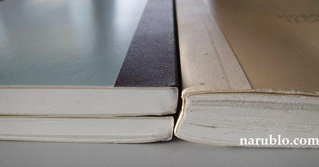 一年間使い込んだ、ほぼ日手帳オリジナルと、2017年のほぼ日手帳オリジナルavecを2冊重ねた厚さの比較です。