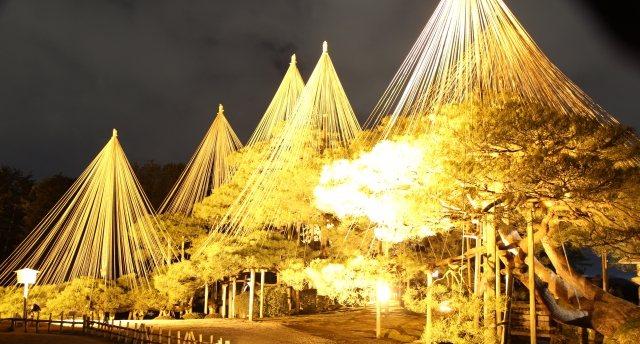 日本三大名園の兼六園の雪吊りのライトアップ