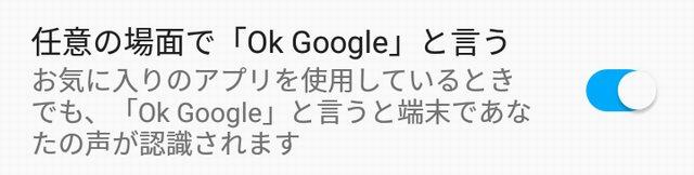 okgoogleをオンにした状態