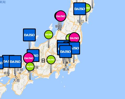 ダイソーの店舗でクレジットカードが使える場所の地図